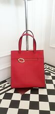 100 % Authentic LULU GUINNESS Large Shopper Tote Red Gold Metal Lips  Bag