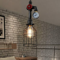 Industrial Vintage Warehouse Steampunk Pipe Pendant Light Ceiling Cage Lamp Bulb