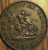 1852 BANK OF UPPER CANADA DRAGONSLAYER HALF PENNY TOKEN COIN - Excellent example