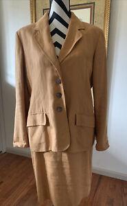 Vintage HERMES 2 Piece Women's Linen Suit Size 46 ~ Peach