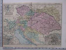 1891 ANTIQUE MAP ~ AUSTRIA-HUNGARY VIENNA BUDAPEST BOHEMIA MORAVIA BOSNIA