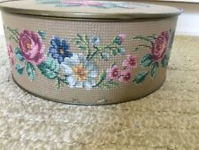 Vintage Guildcraft Sewing Tin Metal Container Crossstitch Design Made USA Sew