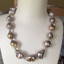 Baroque Drop Pearl Nature Purple 16-20mm elegant necklace 46cm High Luster 14KGF