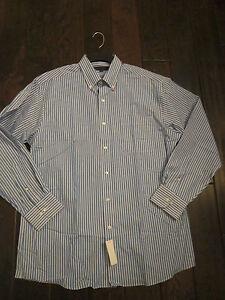 Mens NWT $70 TOMMY HILFIGER Button Down Dress Shirt Blue White Stripe 16 32-33