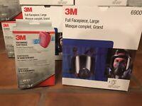 3M 6900 Full Face Respirator W/ 60923 P1OO OV/Acid Gas Cartridges (2) LARGE