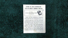 LIONEL # 390C CONTROLLER FOR HO DIRECT-CURRENT CIRCUIT INSTRUCTIONS PHOTOCOPY