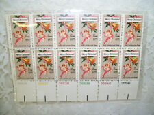 BLOCK OF 12 CHERUB ANGEL STAMPS MERRY CHRISTMAS 1975 EARLY CARD BY LOUIS PRANG