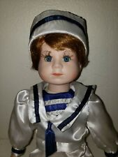 """Vintage Collectible Porcelain 15"""" Sailor Doll with Eyelashes and Barefoot-No Box"""