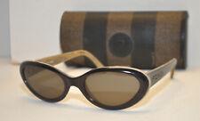 Vintage Fendi FS207 Black Horn Oval Cat Eye Sunglasses in Case Italy