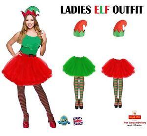 Ladies Tutu Elf Fancy Dress Costume Elf Tutu Stockings & Hat Christmas Outfit
