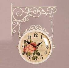 Antique Flower Double Sided Wall Clock Decor Modern Station Clock - M250IV F2