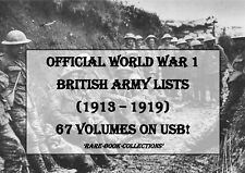 WORLD WAR 1 BRITISH ARMY LISTS ON USB - WW1 MEDAL RESEARCH MILITARY HISTORY