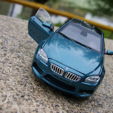 BMW M6 Coupe Model Cars 1:24 Bright blue Collection Front Steering Alloy Diecast