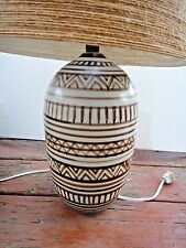 Vintage Lotte Bostlund Pottery Lamp Fiberglass Jute Shade Mid Century Modern