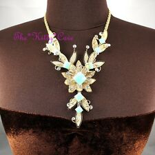 Gold Deco Mesh Lace Lotus Flower Scrollwork Collar Necklace w Swarovski Crystals