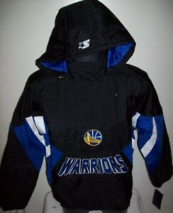 GOLDEN STATE WARRIORS Starter Hooded Half Zip Pullover Jacket  S M L XL 2X BLACK