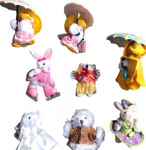 "Lot of 8 Furryville Mattel Miniature 2"" Rabbits, Ducks with Umbrellas, Bear"