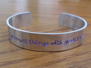 """Mother Teresa """"Do small things with great love"""" or ANY short quote Cuff Bracelet"""