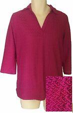 Textured Tunic Size 18/20 2x Raspberry 3/4 sleeves Lane Bryant