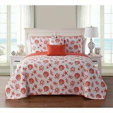 FullQueen 5pc Quilt Set Orange White Coastal Island Seashell Coral Starfish