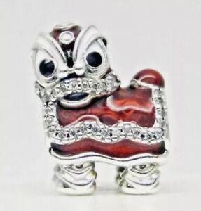 Authentic Pandora CHINESE LION CHARM W/ Pandora TAG & HINGED BOX #792043CZ