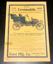 1904 OLD MAGAZINE PRINT AD, CRESTMOBILE MODEL D, THE BEST AUTOMOBILE IN AMERICA!