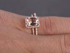 6x8mm Emerald-Cut Morganite & Dia 14K Rose Gold Over Engagement Bridal Halo Ring