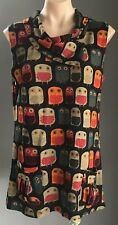 Retro  Multi Colour CAROLINE MORGAN Owl Print Knit Sleeveless Tunic Size 18