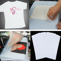 10 X A4 T SHIRT TRANSFER PAPER IRON ON LIGHT FABRICS HEAT PRESS INKJET PRINT Top
