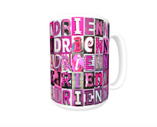 ADRIENNE Coffee Mug / Cup featuring the name in photos of PINK sign letters