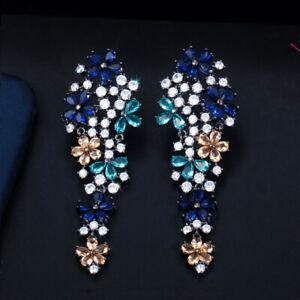 CWWZircons Multicolored Cubic Zirconia Long Dangle Drop Flower Wedding Earrings