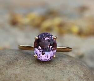 14 K Yellow Gold Ring GTL Certified Pure Amethyst Ring Excellent Cut Ring