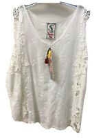 NWT JOHNNY WAS TANK EYELET EMBROIDERED TOP White S Sleeveless