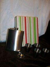 Christmas Spirits Party Liquor Flask & 4 Shot Glasses Funnel Stainless Steel