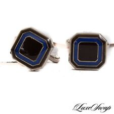NWT Anonymous Silver Metal Raisin Cobalt Concentric Layers Toggle Cufflinks #8