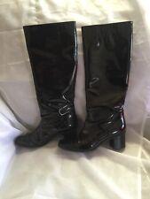 "MARNI Boot Black Patent Leather Square toe tall15"" heel2"" Sz38-sz8"