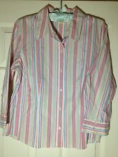 'Sigrid Olsen' 100% Cotton Pink Blue Stripe 3/4 Sleeve Classic Blouse - L - VGUC
