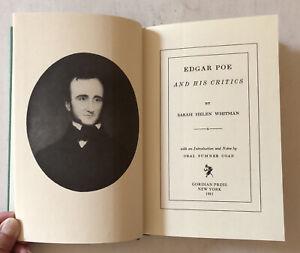 EDGAR ALLAN POE AND HIS CRITICS SARAH WHITMAN ORIG PUB 1860, 1981 HC REPRNT NEW