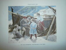 Gravure 19° 1899 couleur Peinture l.Robiquet Une histoire du vieux temps pécheur