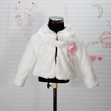 Girls Ivory Faux Fur Long Sleeves Coat Bolero 6-7 Years
