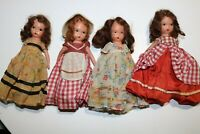 "4 Vintage Storybook 5 1/2"" Bisque Dolls"