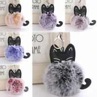 Cat Furry Pom Pom Ball Keyring Keychain Key Ring Chain Women Bag Pendant Decor