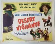 "Desert Vigilante 1949 Movie Poster 28""X 22"" Charles Starrett, Smiley Burnette"