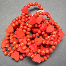 Wood Bead Christmas Garland Red Hearts 7' Long