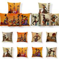 Home Car Bed Sofa Decor African Tribal Woman Print PillowCase Soft Cushion Cover