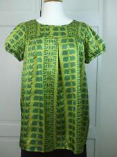 Xhilaration Lime Olive Green Satin Feel Shirt Blouse Top Short Puff Sleeves Sz L