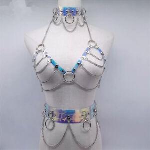 1 Set 3pcs Handmade Holographic Choker Bra Harness Bondage Laser Waist Belt