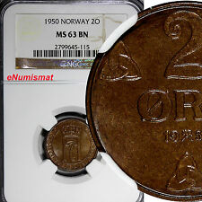 Norway Haakon Vii Bronze 1950 2 Ore Ngc Ms63 Bn Top Graded Coin Km# 371