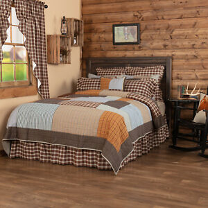 VHC Brands Rustic Luxury King Quilt Grey Patchwork Rory Chambray Bedroom Decor