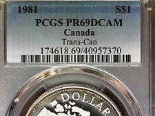 1981 SILVER PCGS PR69DCAM CANADA DOLLAR S$1-(RARE GOLD RING TONE)